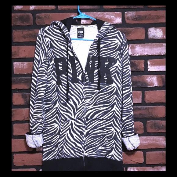 PINK Victoria's Secret Tops - Rare PINK zebra 🦓 hoodie